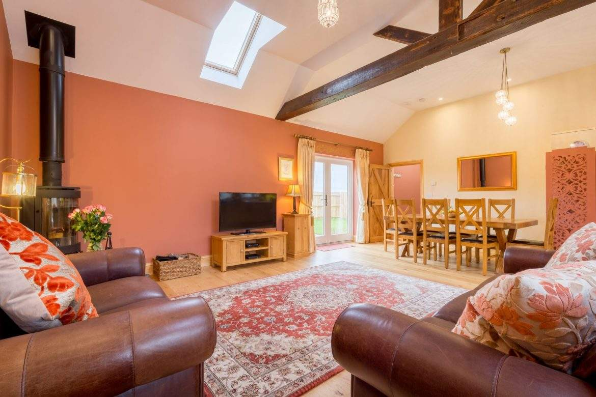 courtyard living room at broadgate farm cottages