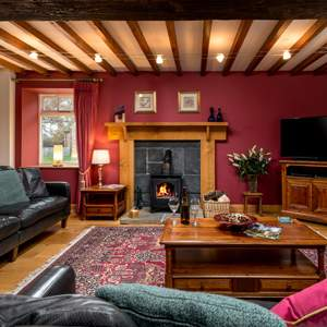 sitting room with fire and beamed ceiling