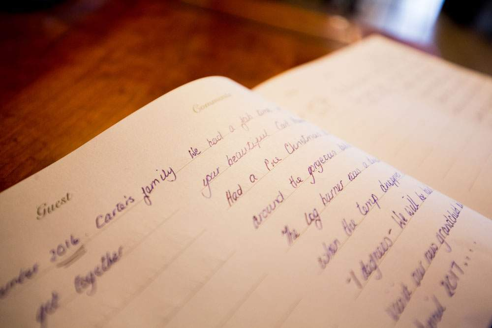 guest book at broadgate farm cottages