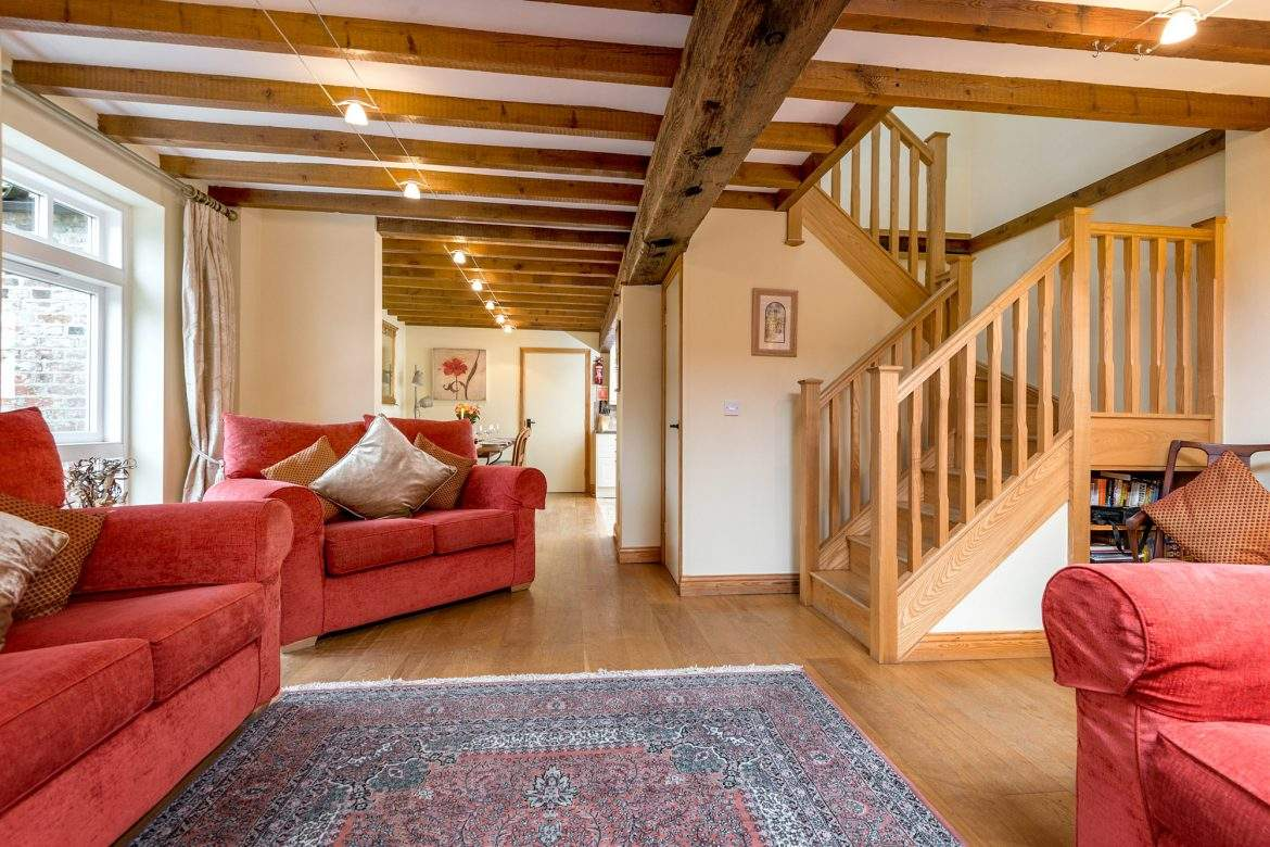 oak beams in the open plan living room