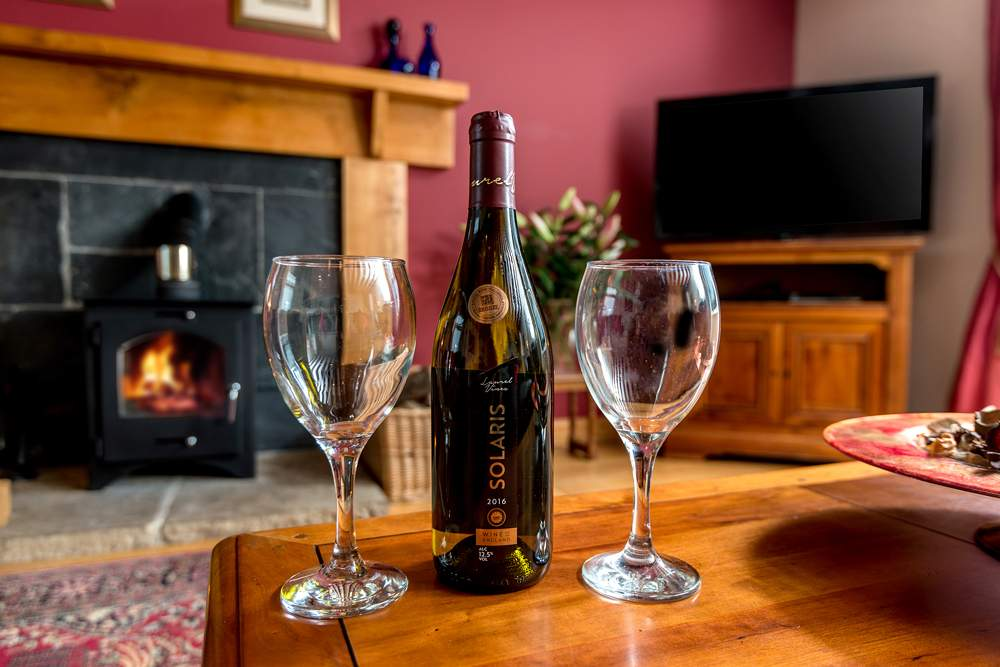 wine with glasses in front of the woodburner