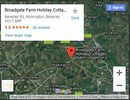 Map of Broadgate Farm Cottages Location