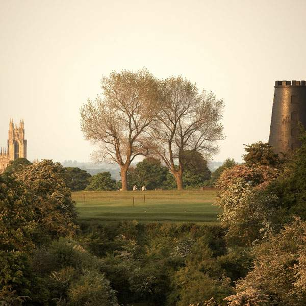 View through the trees to |Beverley Minster and the blck mill on Beverley westwood