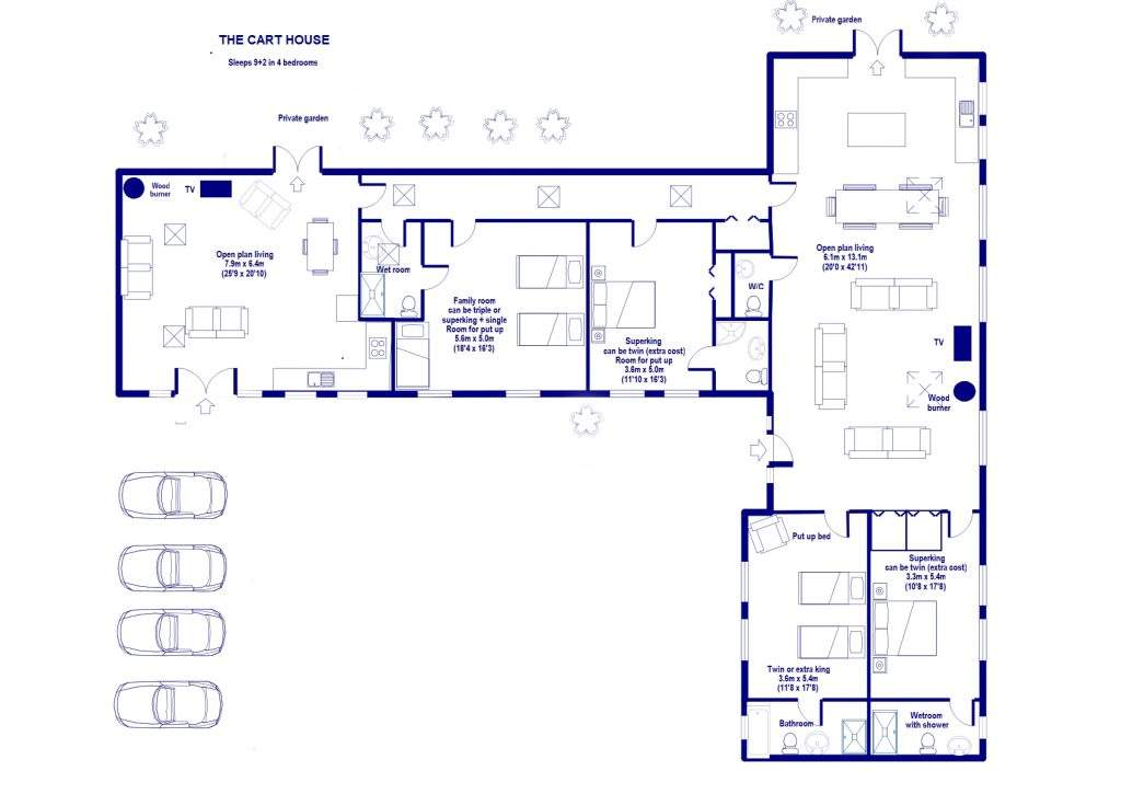 Floor plan of Cart House cottage