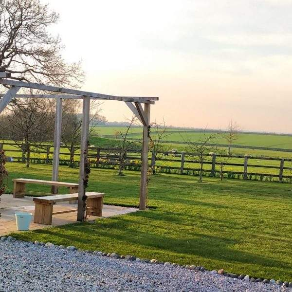 Fireball feature and views across the fields at Broadgate Farm Cottages