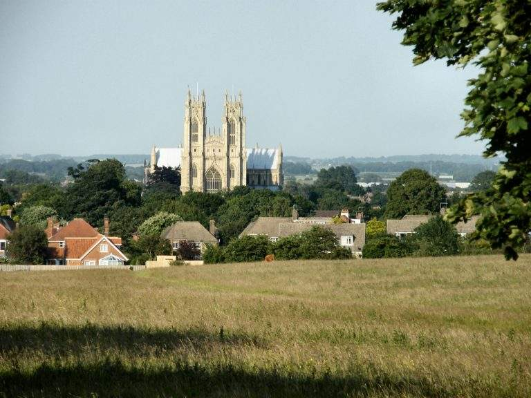 view across beverley westwood to the minster
